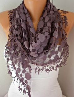 ON SALE  Damson Lace Scarf  shawl scarf   fatwoman by anils, $16.20