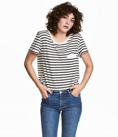 Striped jersey top in a soft cotton and modal blend with short sleeves 2432aa322f