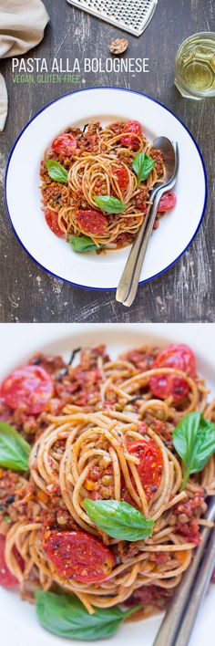 This vegan pasta alla bolognese is a filling yet summery dish. It's packed with plantbased protein, which makes it an ideal post-workout meal! Veggie Recipes, Pasta Recipes, Whole Food Recipes, Vegetarian Recipes, Dinner Recipes, Cooking Recipes, Healthy Recipes, Vegetarian Italian, Vegetarian Cooking