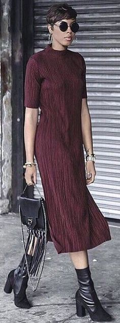 Burgundy Long Dress                                                                             Source
