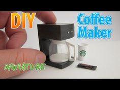 DIY Realistic Miniature Coffee Maker   DollHouse   No Polymer Clay! - YouTube
