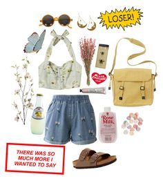 """Summer romance"" by caroline-is-pop-punk ❤ liked on Polyvore featuring Chicwish, Tatty Devine, Birkenstock, Tuesday Bassen, Pier 1 Imports, Toast and vintage"