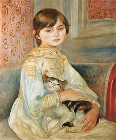 melül bakışlar ve yovarlak çene. kediden korkmadığı da cabası. bazı iki insanlar geçmişte tek kişi miymiş acaba? :P  Pierre-Auguste Renoir - Mademoiselle Julie Manet mit Katze