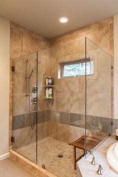 Glass surround shower...Custom Homes - contemporary - Bathrooms - Estes Builders.  Estes Builders designs and builds new homes in Port Angeles, Sequim, Port Townsend, Kingston, Hansville, Poulsbo, Bainbridge Island, Bremerton, Silverdale, Port Orchard and surrounding Clallam and Kitsap Peninsula neighborhoods.