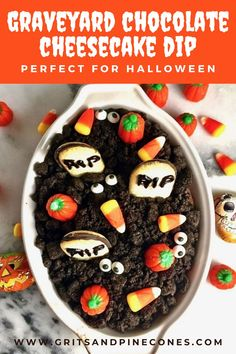 "Halloween Graveyard Chocolate Cheesecake Dip recipe is an EASY, kid-friendly Halloween treat. And, this easy no-bake Halloween recipe for kids can be on the table in less than 15 minutes. Goblins both big and little will love walking in the ""graveyard"" and stopping to chat with a friendly ghost or have a bite of this decadent Halloween dip! Halloween Dip, Easy Halloween Food, Halloween Appetizers, Halloween Treats, Chocolate Cheesecake Dip Recipe, Cute Cookies, Food Themes, Kids Meals, Baking"