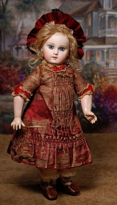 """PORTRAIT BEBE BY EMILE JUMEAU WITH ENTRANCING EYES AND ORIGINAL DRESS.Marks: 3.14"""""""