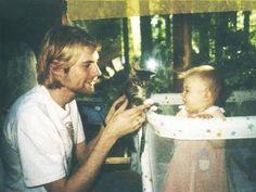Kurt Cobain with Frances Bean and a kitten
