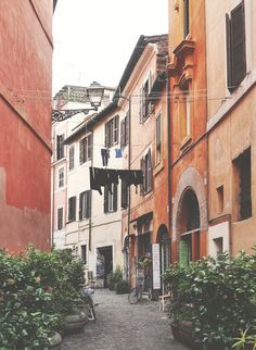 we met in Rome. And spent a lot of time in trestevere neighborhood as college kids abroad. we like the trestevere pale color palette and stucco vibes. Trastevere Rome, Rome Photography, Rome Streets, Voyage Rome, Italy Street, Europe Holidays, Italian Summer, Photos Voyages, Rome Travel