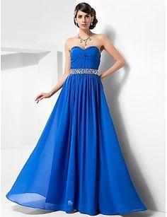 A-linje prinsesse stroppeløs kjære gulvlengde chiffon prom kjole med beading av ts couture®