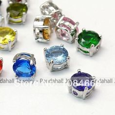 Imitation Cubic Zirconia Beads,  with Brass Findings,  Faceted,  Round,  Platinum Color,  Mixed Color,  8x5mm,  Hole: 1mm