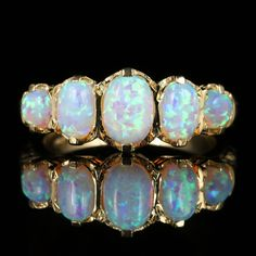 OPAL GOLD FIVE STONE RING 9CT GOLD