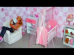 How to make a baby crib / cot (part 1) for doll (Monster High, Barbie, etc) - YouTube