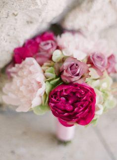 Hot pink peonies, lavender roses, pale pink peonies and antique hydrangeas by Botanica  #wedding #weddingflowers #Botanica