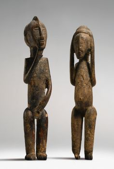 Akan Male and Female Couple, Ivory Coast and Ghana Height of male: 8 7/8 in (22.5 cm) Height of female: 8 5/8 in (21.9 cm) Reportedly collected before World War I