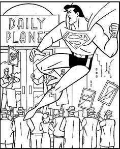 Superman On Daily Planet Coloring Picture For Kids