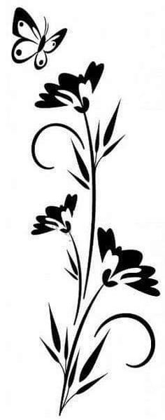 Schmetterlings- und Blumenschablone Butterfly and flowers stencil, Stencil Templates, Stencil Patterns, Stencil Art, Stencil Designs, Damask Stencil, Deco Floral, Motif Floral, Flower Silhouette, Silhouette Design