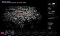 Figure 3  Maps of Babel. Geo-located UGC and places mentioned within the city of Milan on January 5th 2012.