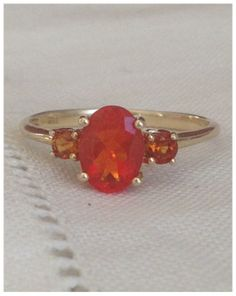 A Vintage Natural Mexican Orange Fire Opal by RomanceVintageJewels, $325.00