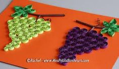 Risultati immagini per grappes de raisin Bee Crafts For Kids, Paper Plate Crafts For Kids, Diy Arts And Crafts, Art For Kids, Quilling Patterns, Quilling Designs, Diy Paper, Paper Crafts, Pencil Shavings