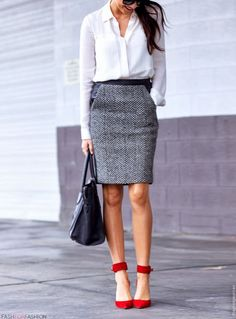 herringbone skirt and red shoes