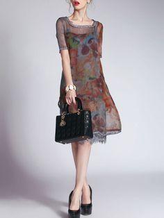 Printed Lace Paneled Midi Dress