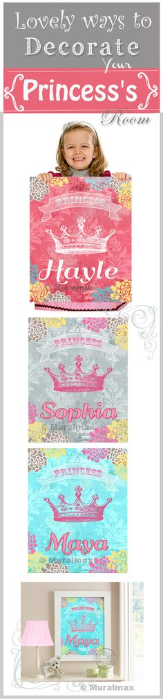 Lovely ways to decorate your PRINCESS's room Personalized Princess Crown Print for any girls room. #Nursery #decor #princess #girls