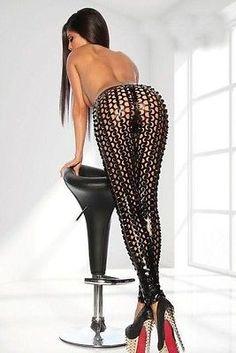 LEGGING LEGGINGS PANTALON NOIR WETLOOK TROUÉS LINGERIE SEXY MODE FASHION 79312-2 in Vêtements, accessoires, Vêtements, accessoires   eBay
