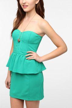 Pins and Needles Strapless Peplum Dress
