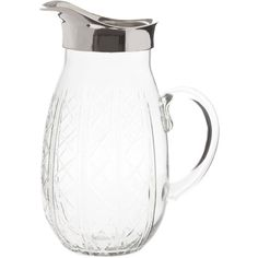 Zara Home Engraved Glass Pitcher ($46) ❤ liked on Polyvore featuring home, kitchen & dining, serveware, transparent, glass pitcher, zara home and glass serveware