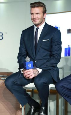 David Beckham cleaned up with the help of Dior Homme to attend the global launch of Haig Club Whiskey on November 6th in Shanghai, China. Wearing the brand's signature navy, Beckham impressed in a two-button tailored suit.