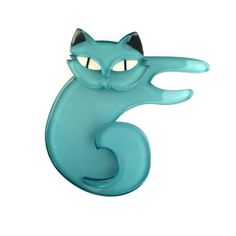 Curling Cassandra (Erstwilder Blue Resin Cat Brooch), now available. Hand assembled and hand painted, presented in a branded box.