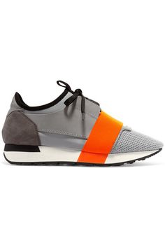 Balenciaga Race Runner Leather, Mesh, Suede And Neoprene Sneakers - Gray - ShopStyle Trainers Neon Sneakers, Neon Shoes, Colorful Sneakers, Colorful Shoes, Suede Sneakers, Sneakers Fashion, Balenciaga Trainers, Balenciaga Shoes, Moda Men