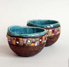"""Ceramic bowls / Пиалы ручной работы. Ярмарка Мастеров - ручная работа. Купить Комплект пиал """"Ацтеки"""". Handmade. Тёмно-бирюзовый, комплект пиал"""