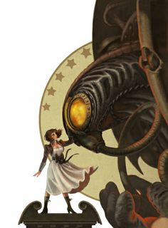 October 31, 2012.  Concept art from Bioshock Infinite.  I have always enjoyed the concept behind steampunk and so Bioshock has always intrigued me.  I enjoy Elizabeth's outfit and emotion here and the scale of her versus the Songbird.