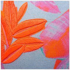 Embroidery ✖️Print collaboration . Rhianna Ellington textiles with Ellie Mac Embroidery .