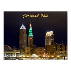 Holiday lights poster Downtown Cleveland, Ohio http://www.zazzle.com/cleveland_skyline_holiday_lights_poster-228030561383945888?gl=WestCreek=238232710640538046