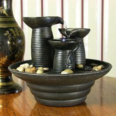 Sunnydaze Decor Three Pillars Pouring Tabletop Fountain with LED Lights - XSS-963