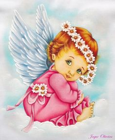 Pintura em tecido. Angel Images, Angel Pictures, Cute Pictures, Angel Kids, Angel Drawing, Anne Geddes, I Believe In Angels, Angels In Heaven, Guardian Angels