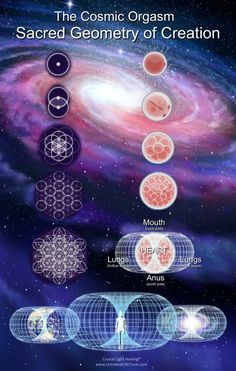 The Sacred Geometry of Human Cell Development - Vesica Piscis, Egg of Life, Flower of Life, Metatrons Cube, 64 Tetrahedron Crystal, Vector Equilibrium... Crystal Light Healing®...