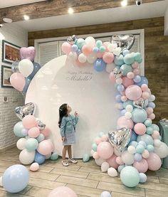 Birthday Decorations Discover Pastel Balloon Garland Arch Pink Aqua Baby Blue - First Birthday Baby Shower Deco Baby Shower, Baby Shower Balloons, Birthday Balloons, Baby Shower Themes, Baby Shower Decorations, Baby Showers, Gender Reveal Decorations, Shower Ideas, Baby Girl Birthday