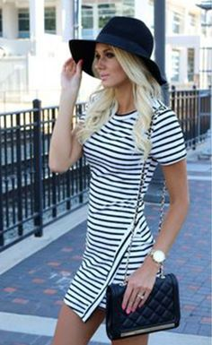 Irregular Hem Striped Crew Neck Long Sleeve Dress - Stella La Moda