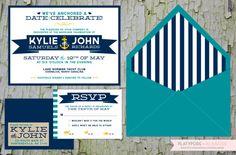 Nautical Wedding Invitation by PlatypodeAlamode on Etsy