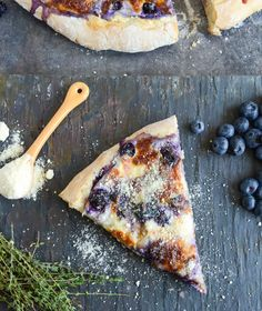 blueberry pizza with whipped ricotta + caramelized shallots