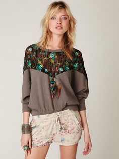Free People Lace Inset Pullover Sweatshirt
