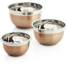 Crate & Barrel Copper Mixing Bowl Set of Three (1,380 THB) ❤ liked on Polyvore featuring home, kitchen & dining, kitchen gadgets & tools, copper bowl, copper mixing bowl, storage bowl, serving bowl and copper mixing bowls