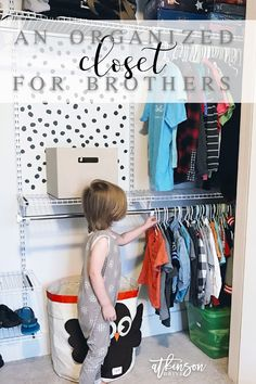 A Shared Closet for Brothers Boys Room Decor, Boy Room, Kids Bedroom, Boys Closet, Shared Closet, Shared Boys Rooms, Kids Rooms, Diy Closet System, Brothers Room