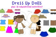 For ages 2 to 6. This activity set includes two 8 inch paper dolls, a boy & a girl with 11 clothing accessories each. 22 accessories in total. Your child can mix & match shirts, pants, dresses, shoes and hats and create many different outfits. Encourages creativity, imagination and pretend play! Simply laminate and cut out all the pieces, then attach them with Velcro. www.totschooling.net