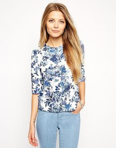 ASOS Shell Top in Textured Floral Print