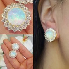 Oh my want want want !!!! Love these earrings so much 😍😍😍😍 Victorian screw back non pierced opal and diamond earrings
