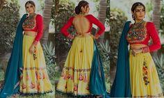 India's Most Loved Chaniya Choli Designs for Navratri lime yellow printed chaniya choli with red embroidered gamthi blouse Choli Blouse Design, Choli Designs, Lehenga Designs, Blouse Designs, Choli Dress, Garba Dress, Lehenga Blouse, Navratri Dress, Chaniya Choli For Navratri